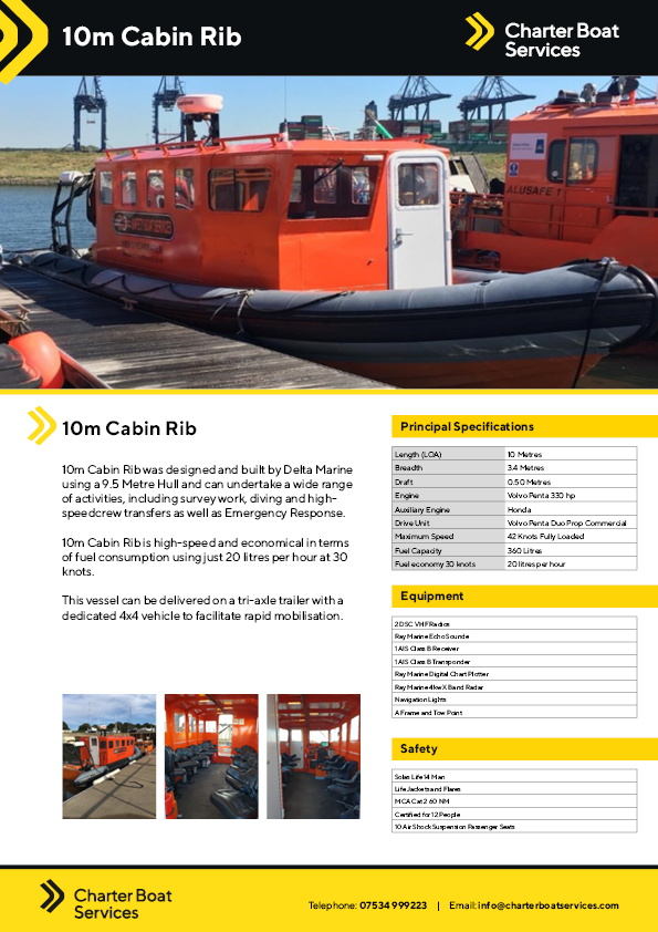 10m Cabin Rib | Charter Boat Services - Our Fleet