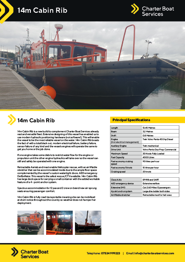 14m Cabin Rib | Charter Boat Services - Our Fleet
