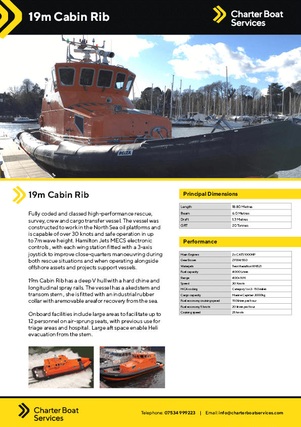 19M Cabin Rib   Charter Boat Services - Our Fleet