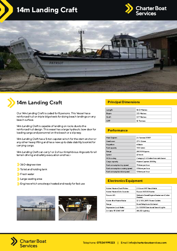 14m Landing Craft | Charter Boat Services - Our Fleet