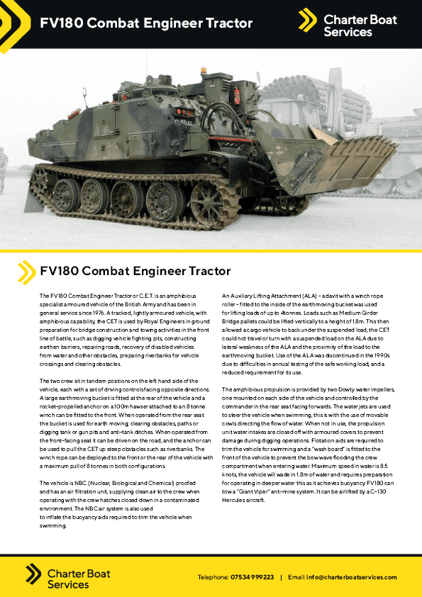 Combat Engineer Tractor | Charter Boat Services - Our Fleet